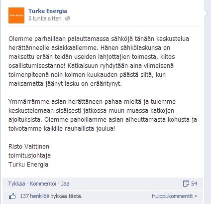 Turku Energia Oy:n tiedote FB-sivuilla